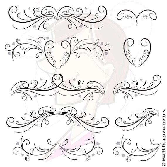 Curly clipart pretty design. Flourishes wedding vintage style