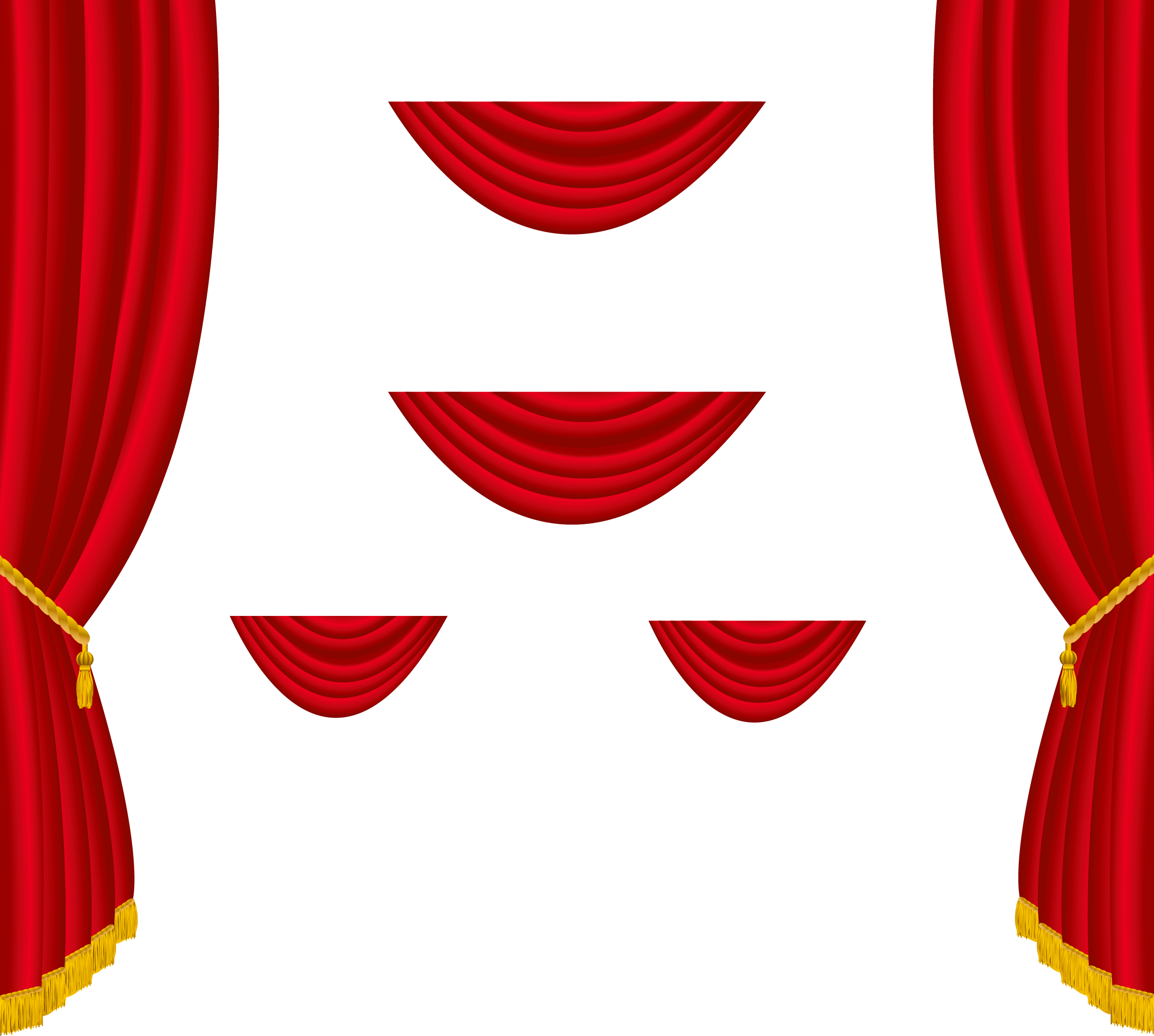 Transparent red curtains decoration. Curtain clipart svg