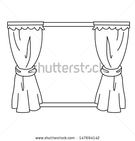 Outline vector on stock. Curtain clipart black and white clip freeuse stock