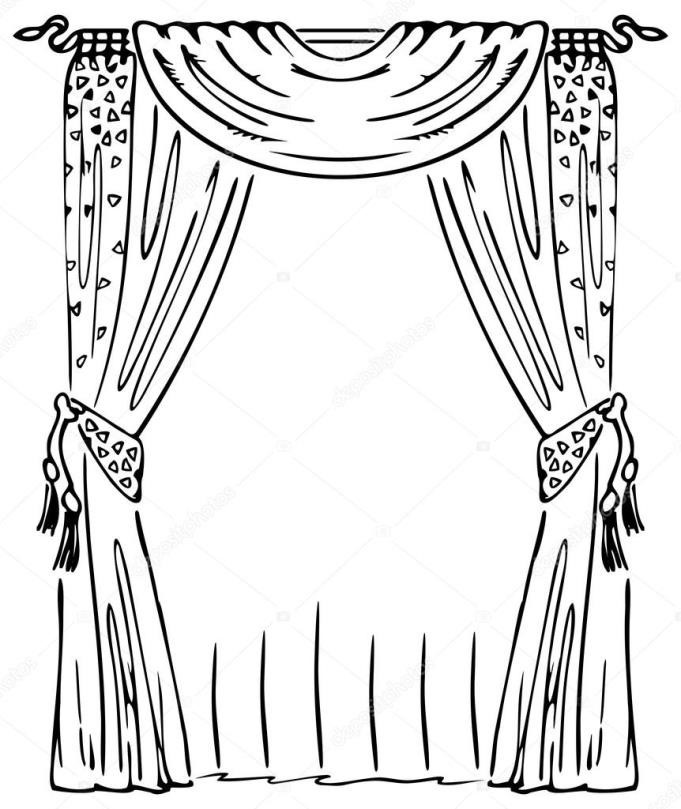 Curtain clipart black and white. Pencil in color  banner freeuse library