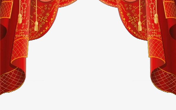 Curtain clipart corner. Chinese red style gules