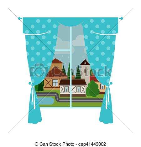 Curtain clipart cute. Blue window and rainy royalty free library