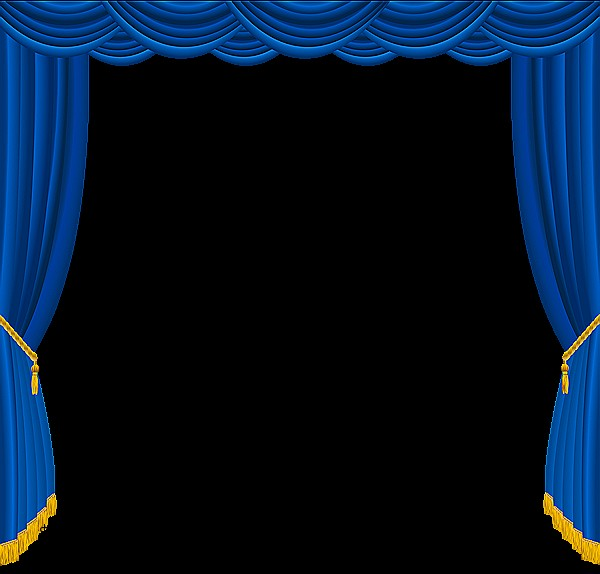 Royal blue window curtains. Curtain clipart elegant banner black and white library