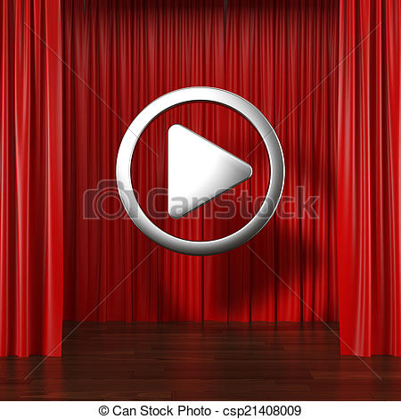 Red curtains with button. Curtain clipart play clipart freeuse download