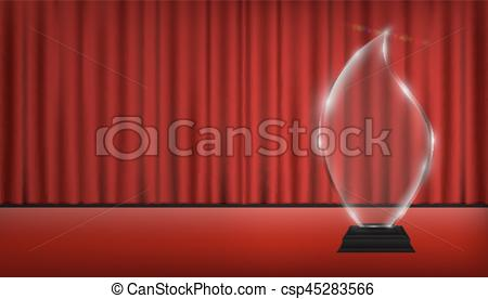 D transparent acrylic trophy. Curtain clipart real image freeuse