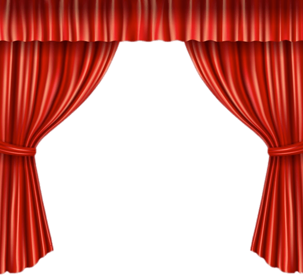 Stage transparent curtain open. Red curtains with tie