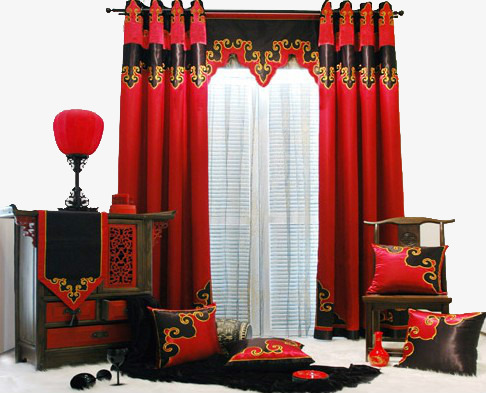 Curtains clipart big red. Chinese style wooden chairs