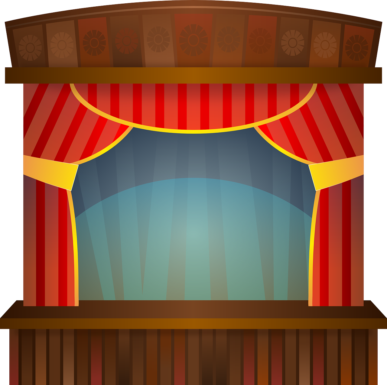 Curtains clipart puppet stage. Pizzazz with greg ruhe