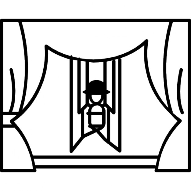 Curtains clipart puppet stage. Show on with icons