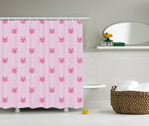 Pig kritters in the. Curtains clipart shower curtain vector stock