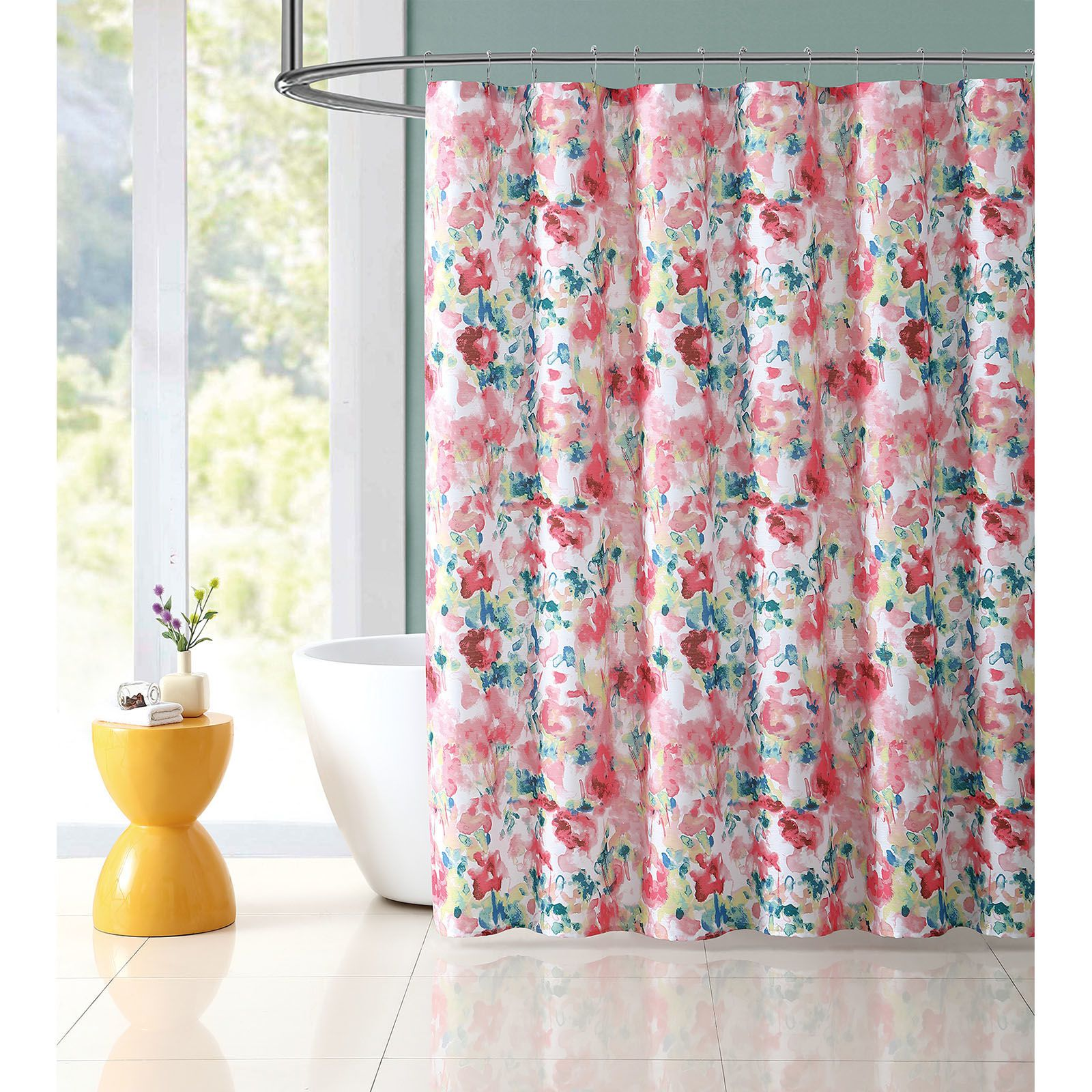 Curtains clipart shower curtain. Marvelous bright tropical floral