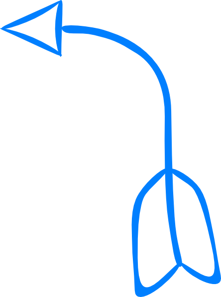 Blue left arrow clip. Curved clipart picture black and white library