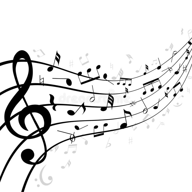 Notes on a stave. Curved clipart music staff svg royalty free stock