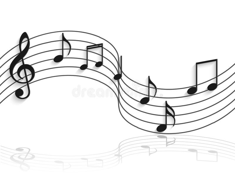 Curved clipart music staff. Musical notes illustration stock transparent