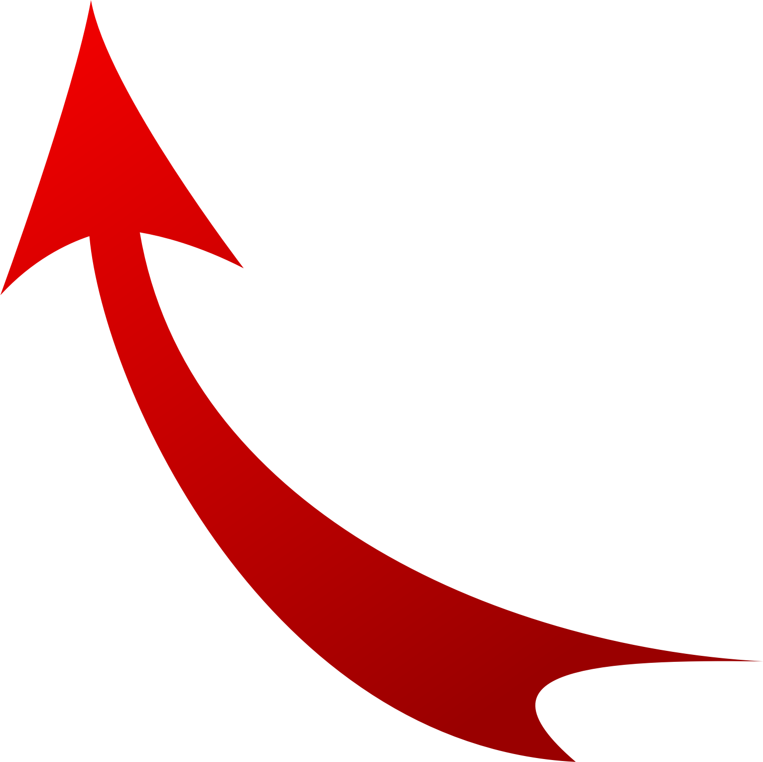 Vector curve red. Free curved arrow image