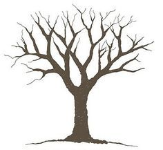 Curved clipart tree painting. With branches and leaves