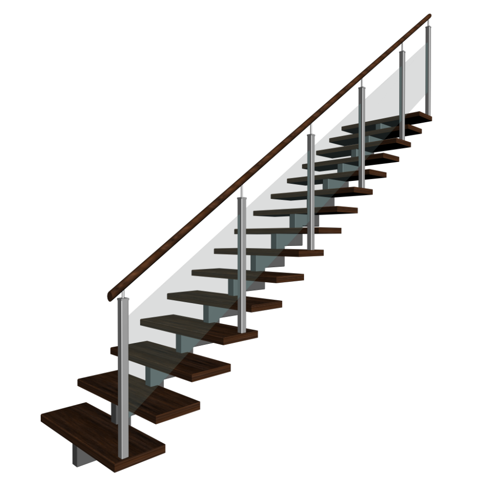 Stairs transparent 3 d. Stair handrail design deck
