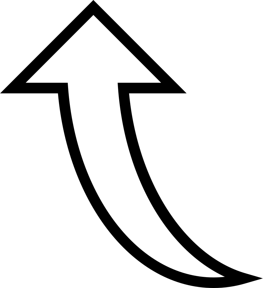 Curved white arrow png. Pointing up svg icon