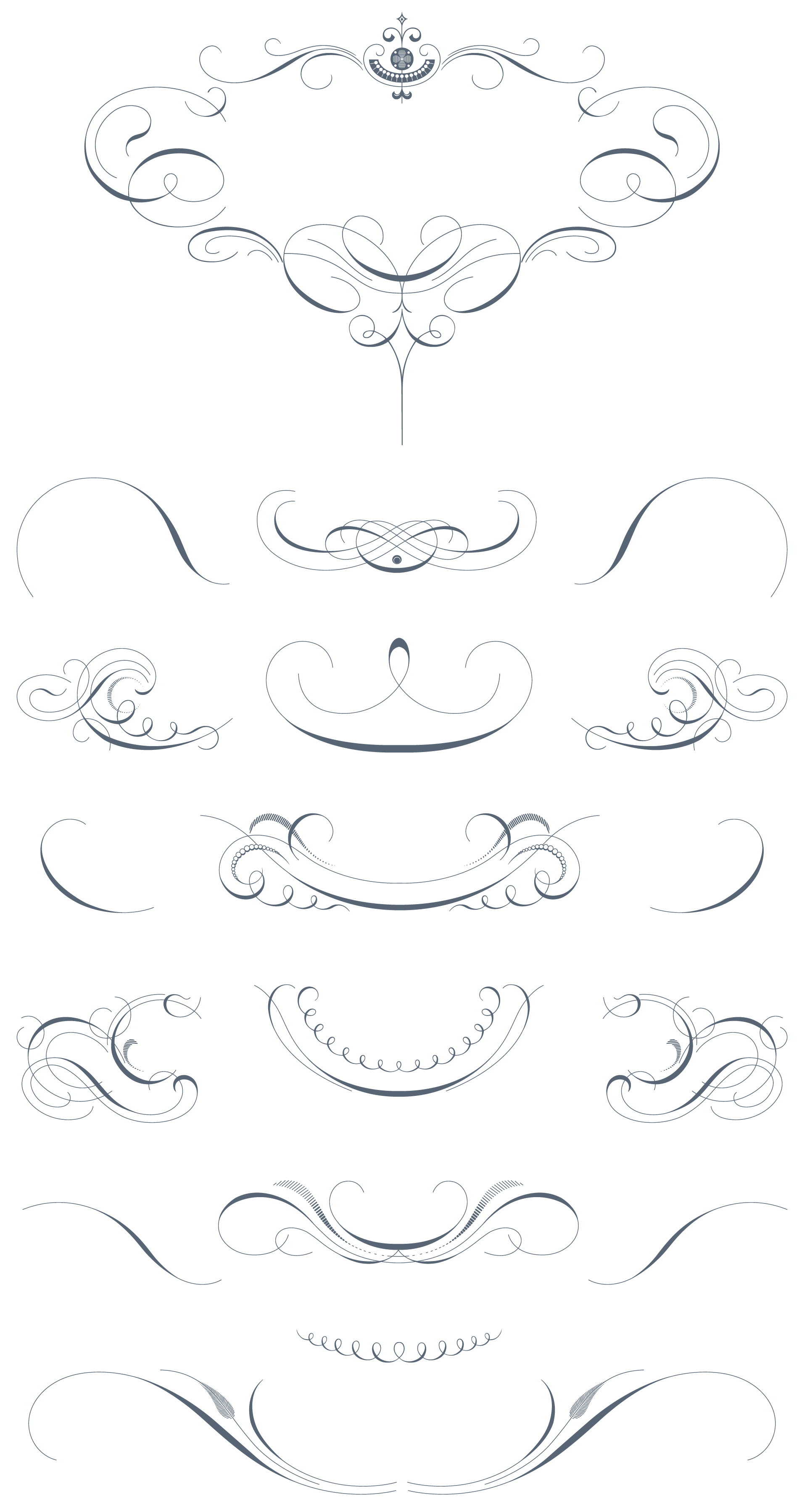 It vector ornament. Luxurious flourishes pack ornaments