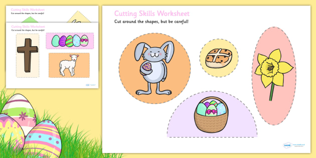 Easter themed cutting skills. Cut clipart fine motor skill png freeuse stock