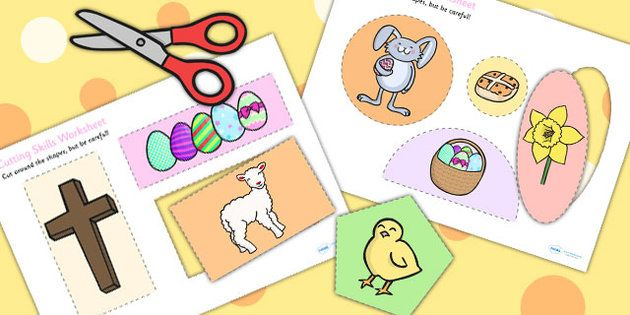Easter themed cutting skills. Cut clipart fine motor skill freeuse stock