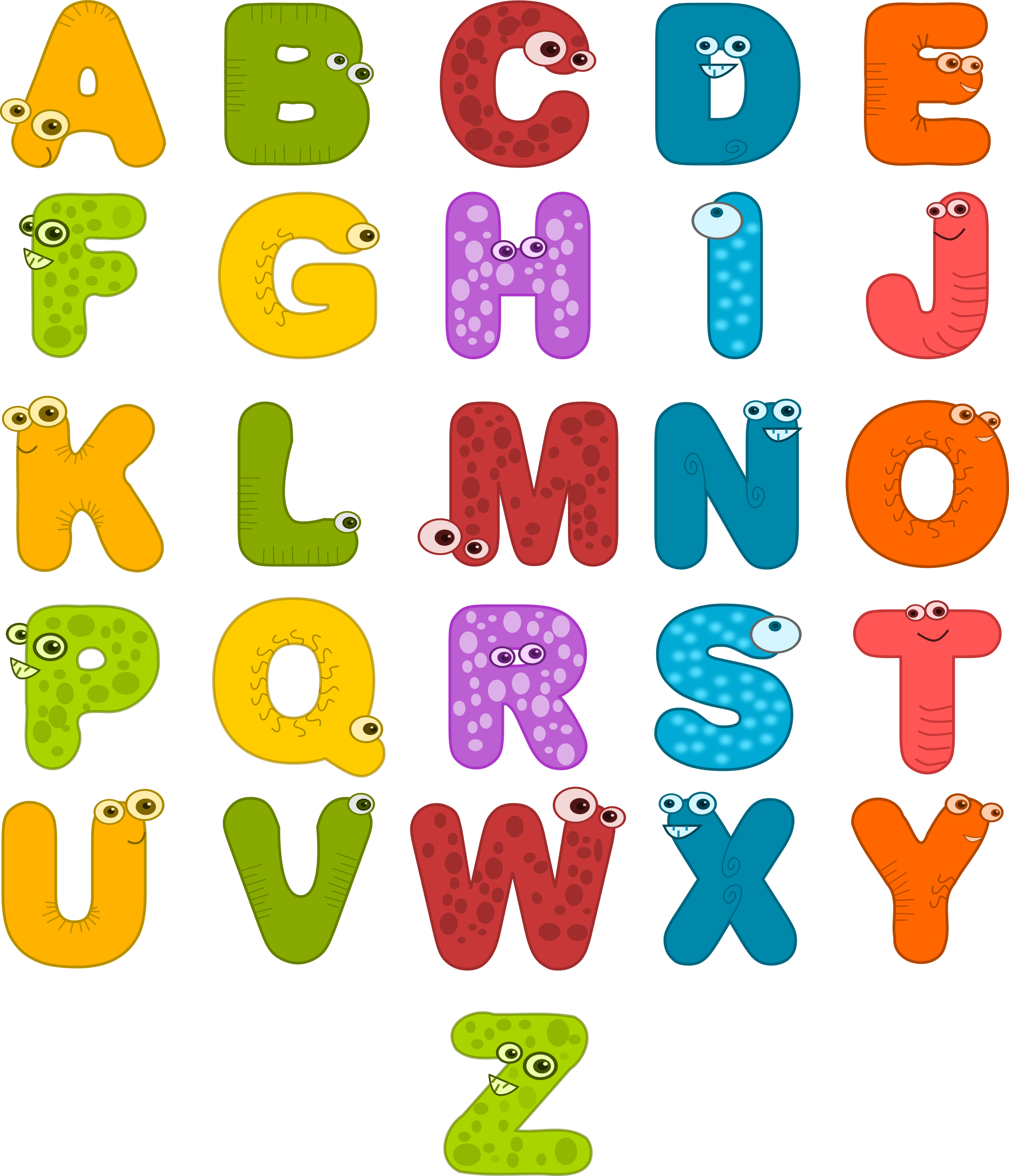 Cute alphabet png. Clipart animal alphabets big