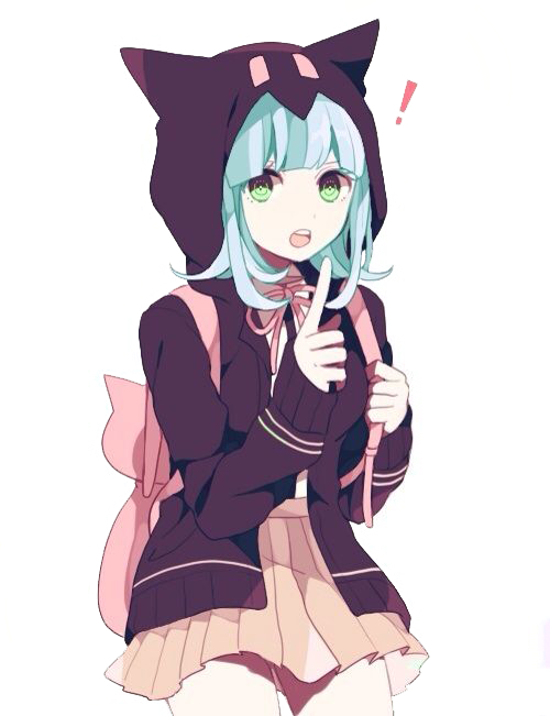 Cute anime png. Girl excited by cupcakes