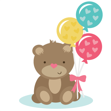 Cute bear png. Holding balloons svg files