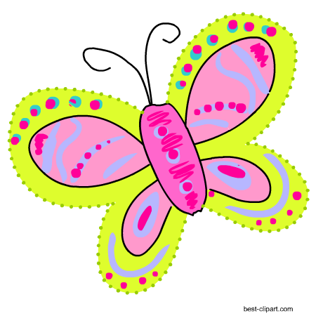 Free clip art graphics. Cute butterfly png vector stock