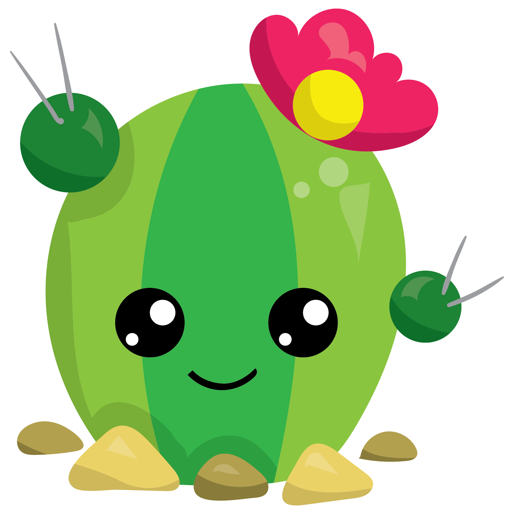 Cute cactus clipart. Growing with flower