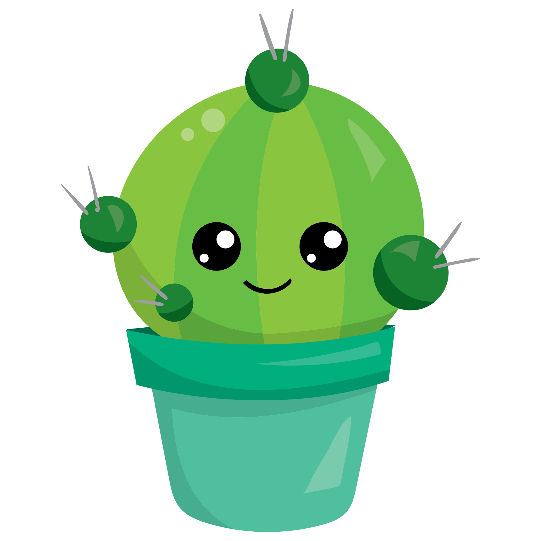 Cute cactus clipart. Kawaii green in