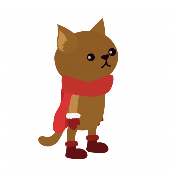 Cute cartoon kitten wearing shoes scarf and mittens vector illustration.