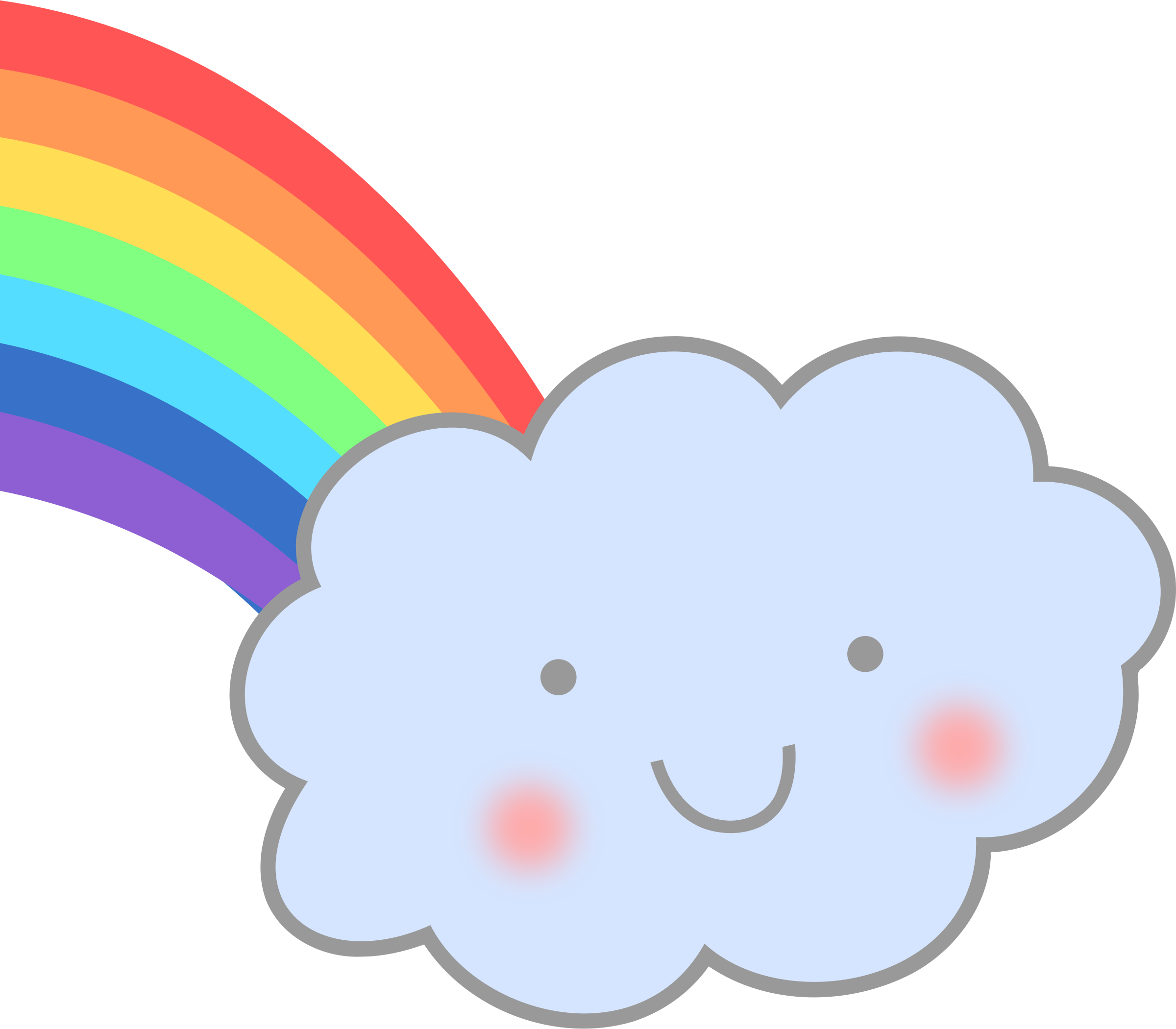 Cute clouds png. Cloud with rainbow icons