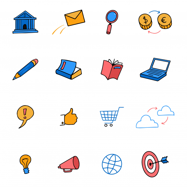 Cute colored doodle icons business. Marketing set