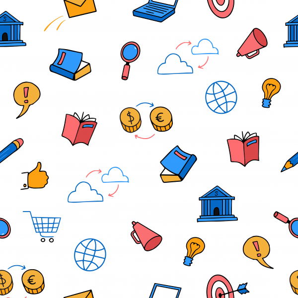 Cute colored doodle seamless pattern business. Marketing ecommerce set