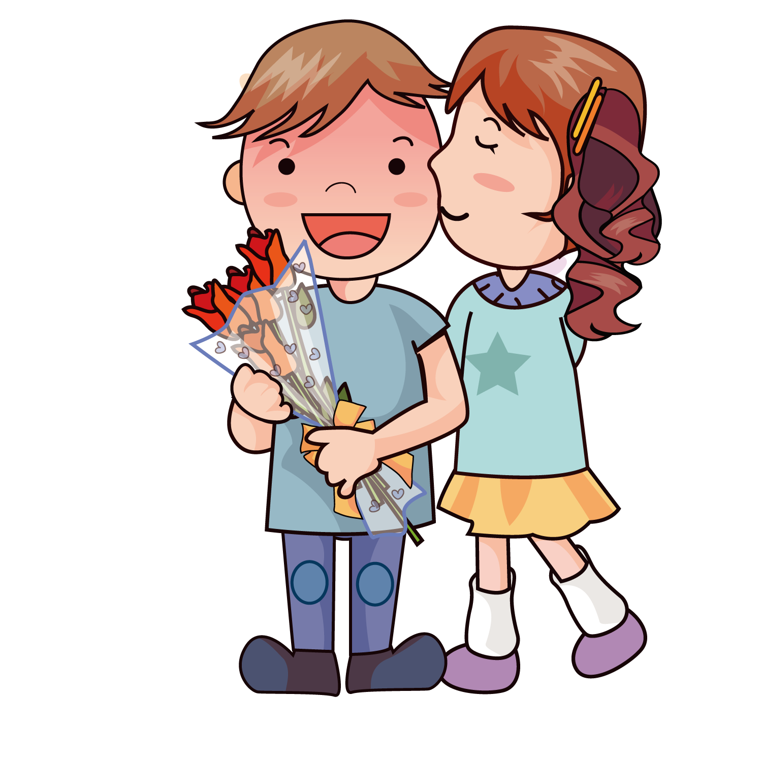 Romantic clip child. Cartoon drawing romance cute