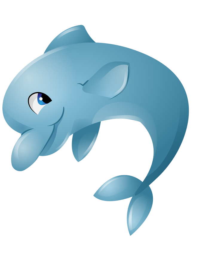 Cute dolphin png. Blue cartoon hand painted