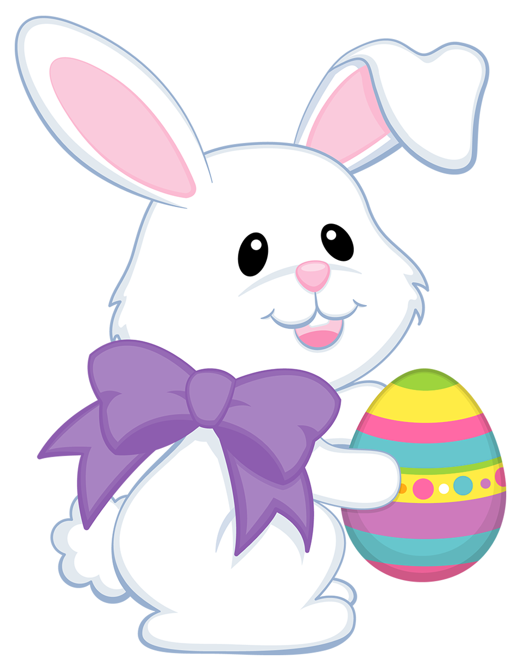 Cute easter bunny png. With purple bow transparent