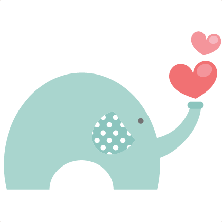 Cute elephant png. Valentine svg file for