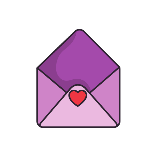 Cute envelope png. With heart seal icons