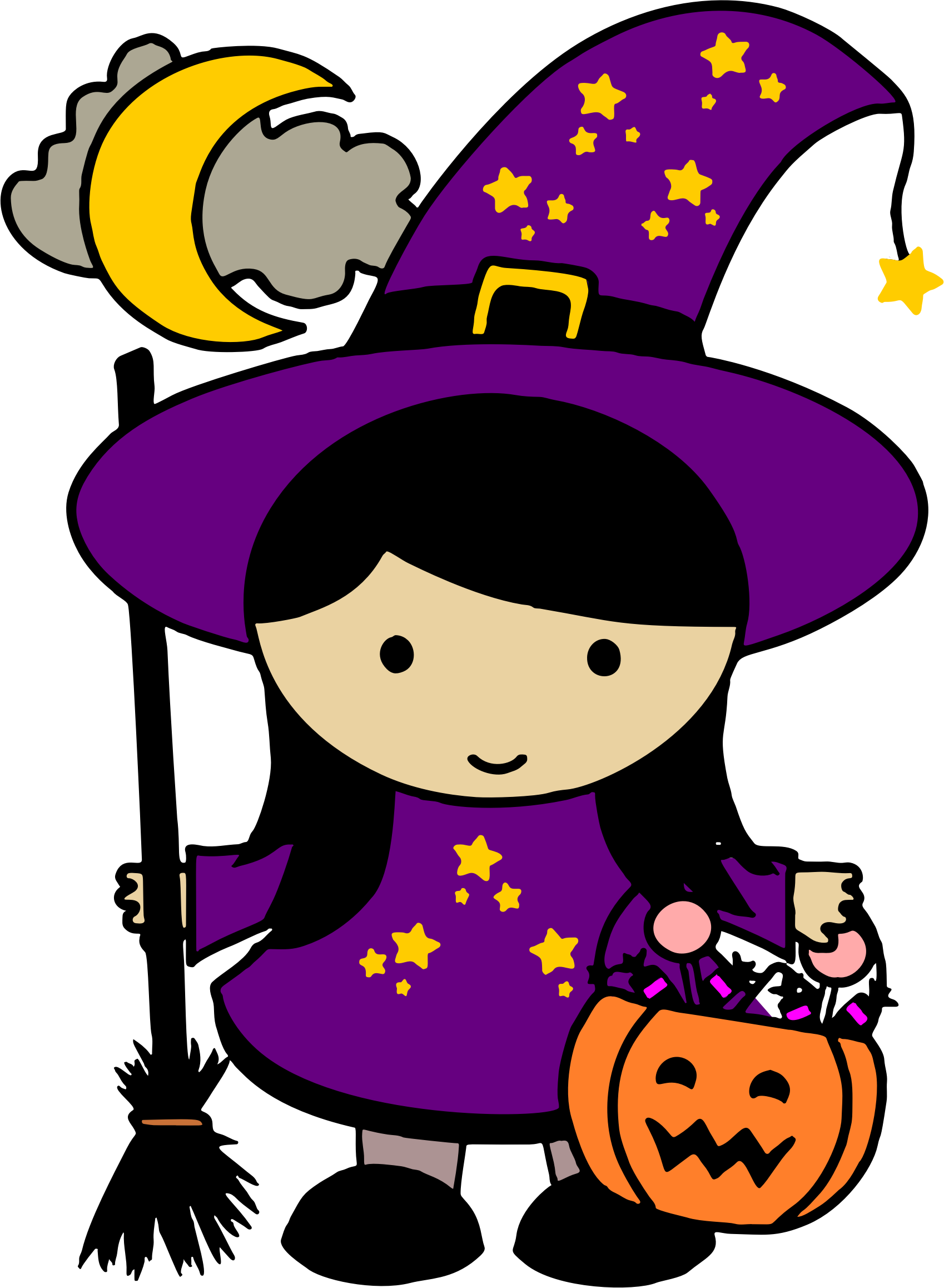 Cute halloween witch png. Clipart colored big image