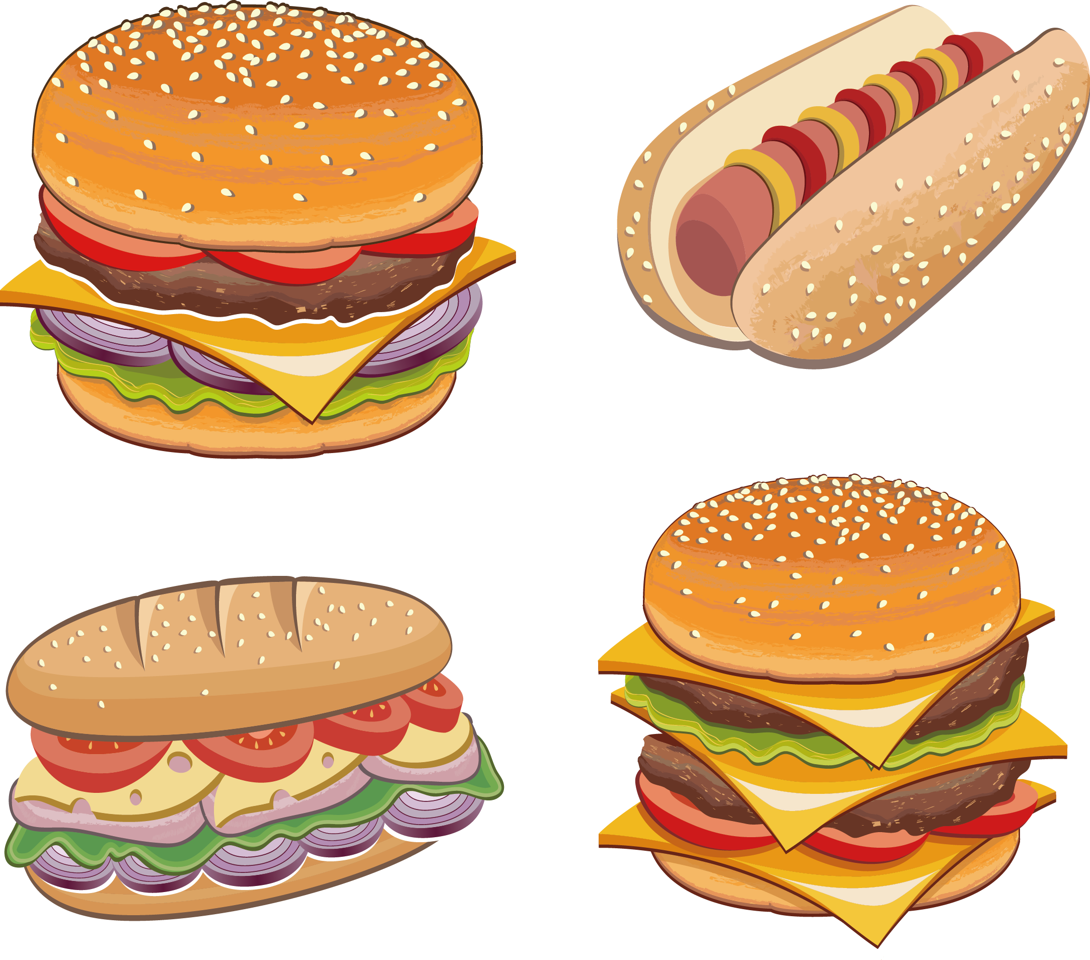Cute hamburger and fries png. Chicken sandwich fast food