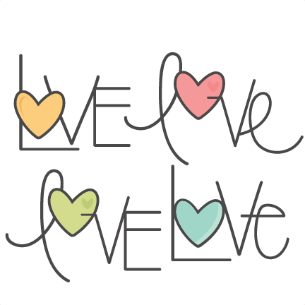 Cute love png. Word set svg scrapbook