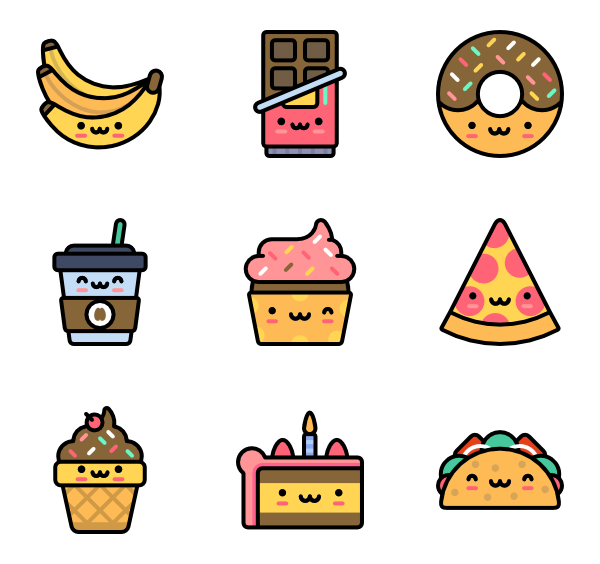 Cute png icons. Free vector food