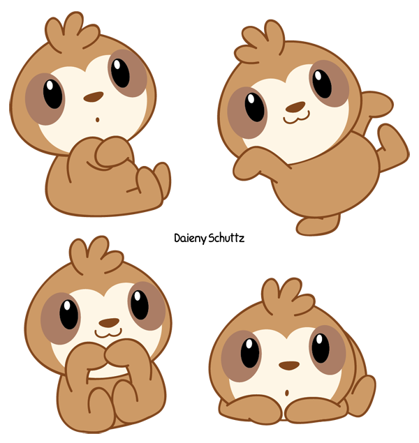 Armadillo clipart cute. Chibi sloth by daieny