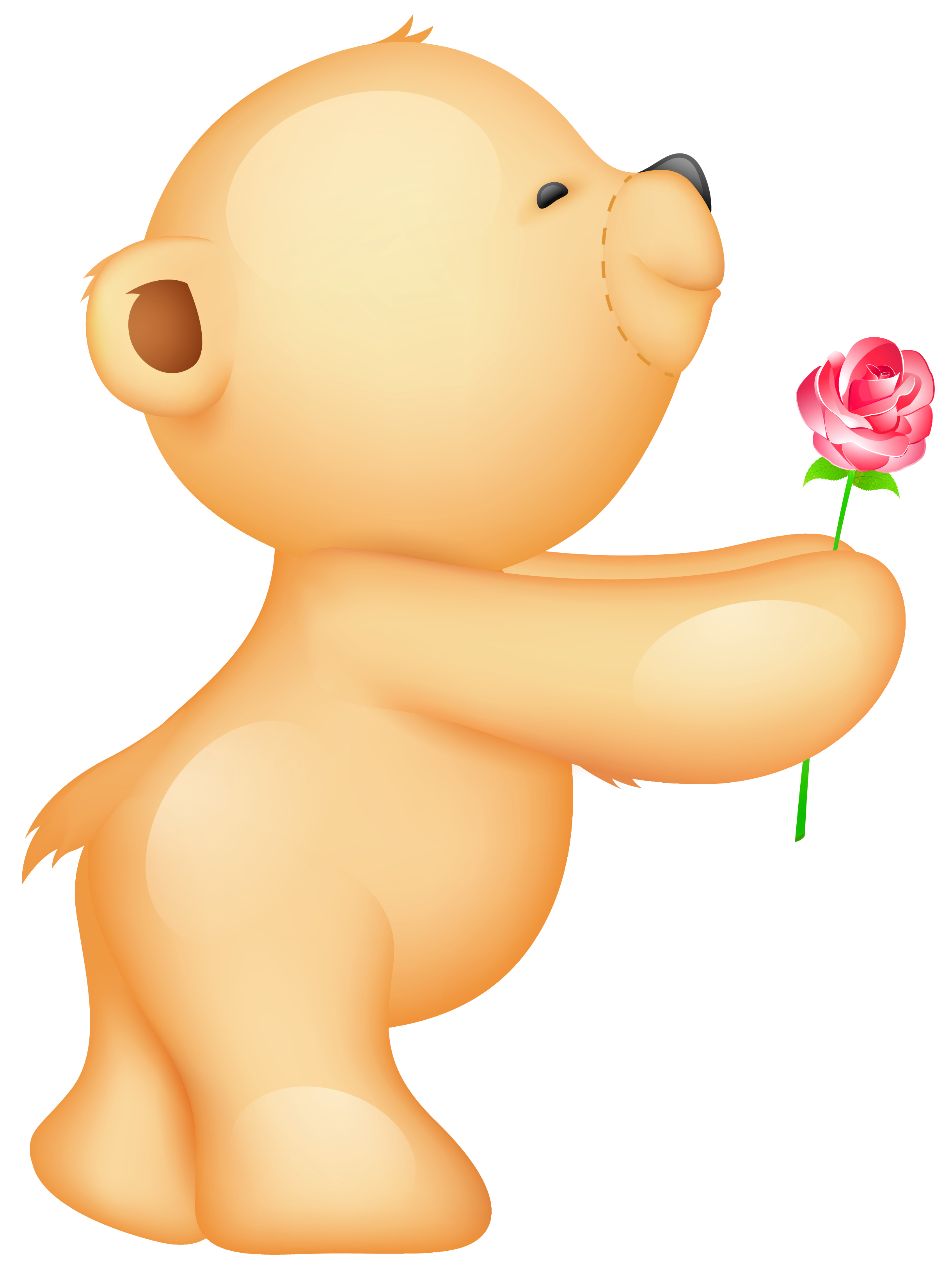 Cute valentine png. Teddy with rose clipart