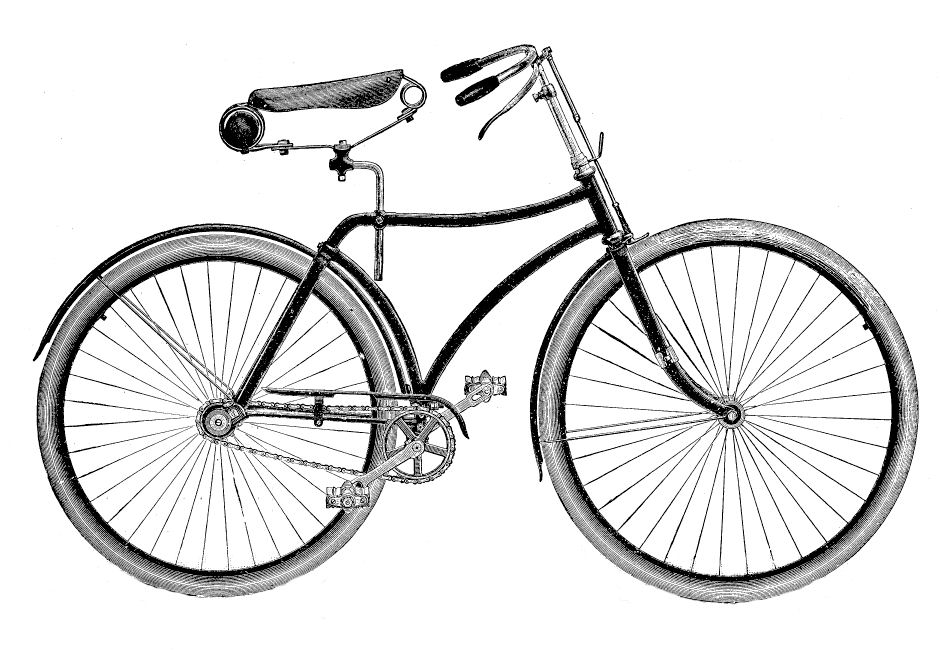 Bicycle drawing at getdrawings. Cycle clipart antique bike picture black and white stock