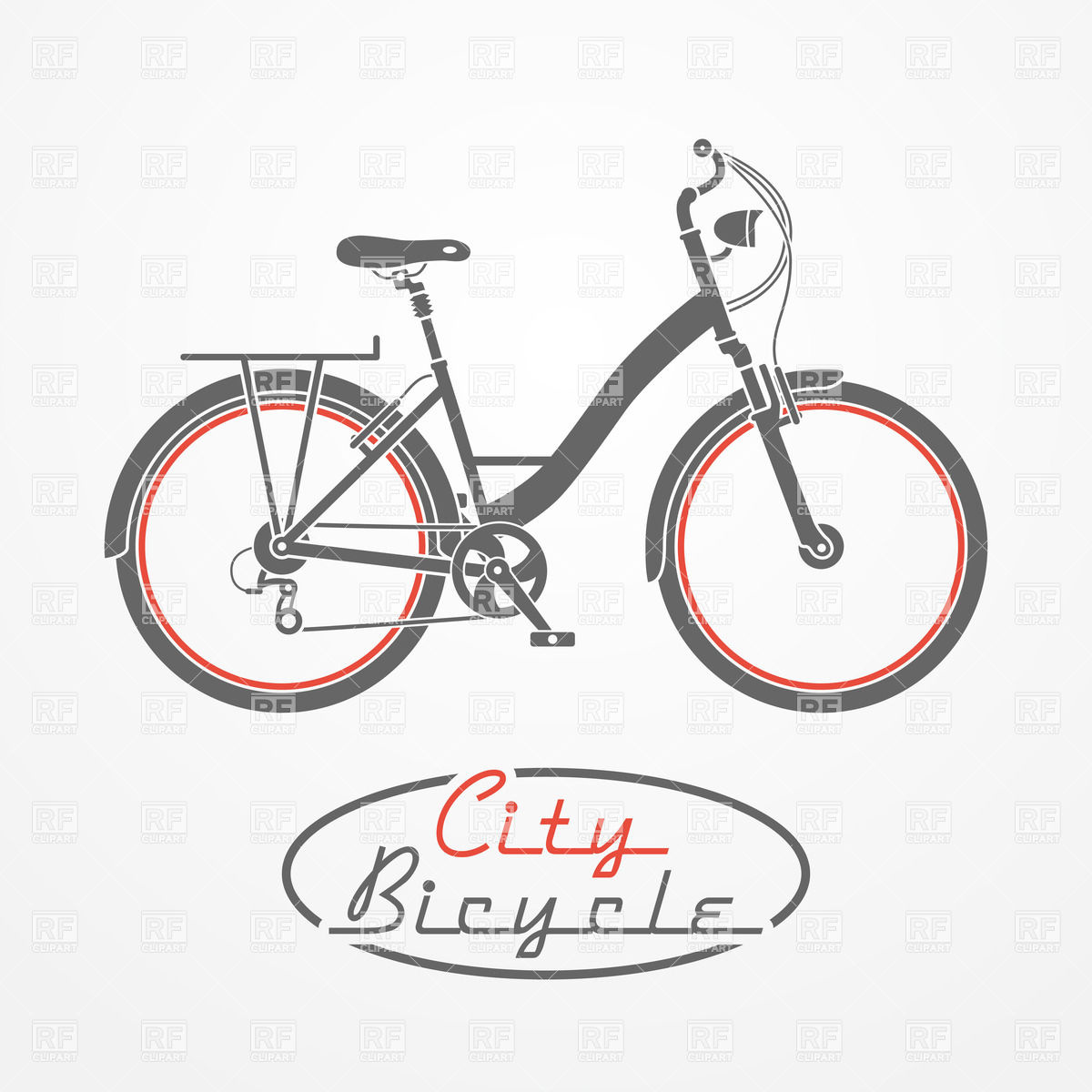 Cycle clipart antique bike. Vintage city bicycle vector clip art black and white