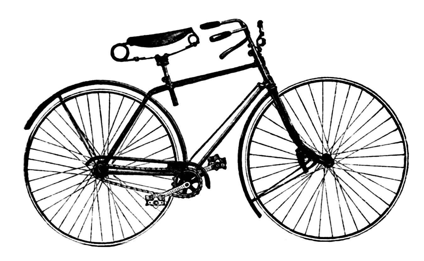 Vintage advertising clip art. Cycle clipart antique bike png library