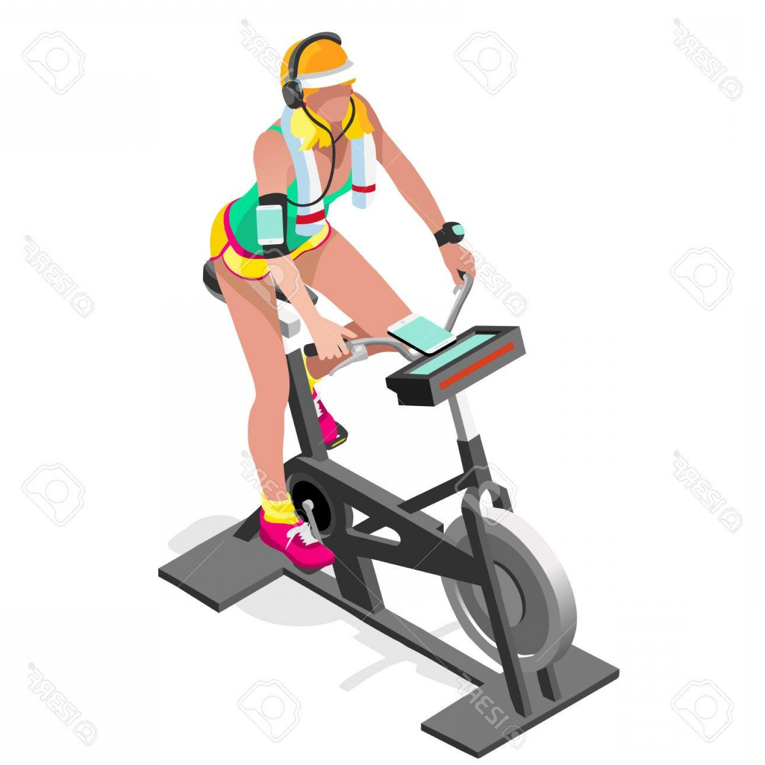 Cycle clipart cycling class. Photostock vector exercise bike clip library stock